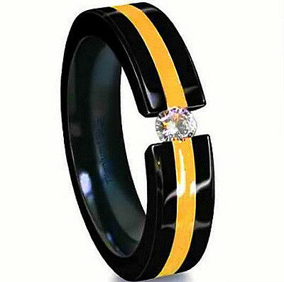 Titanium Tension Black Plated Solitaire RING with Golden Accent, CZ, size 9 Black Titanium Tension Rings