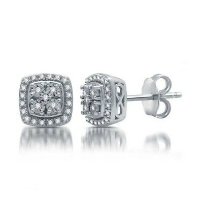 (1/10 CT Cluster 4 Diamond Earrings Sterling Silver Infiniti (Also have ring))