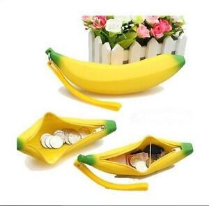 Novelty Silicone Portable Banana Coin Pencil Case Purse Bag Wallet Pouch WOAU