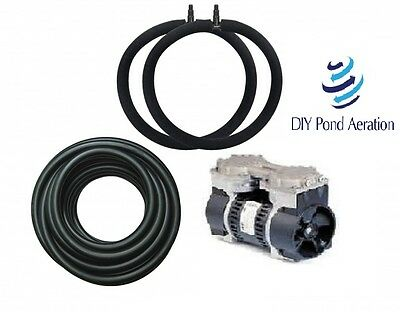 SMALL POND Aerator System w/25' WTD Hose & 2-Diffuser's less than 1 acre POND
