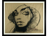 LUCINDA LYONS - 'RAVEN' - LARGE ORIGINAL CHARCOAL DRAWING/PAINTING - FRAMED (picture)
