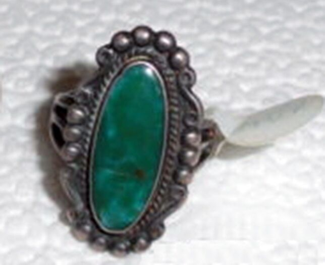 Navajo Natural Blue Gem Turquoise Ring Sz 6 Fred Harvey Era Sterling Silver .925