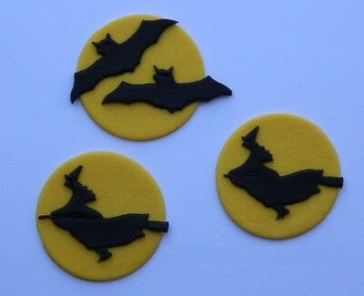 12 edible HALLOWEEN SCARY WITCH CAT cake topper decoration CUPCAKE FRIDAY 13TH