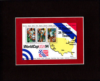 1994 World Cup Stamp Sheet Matted To 8x10