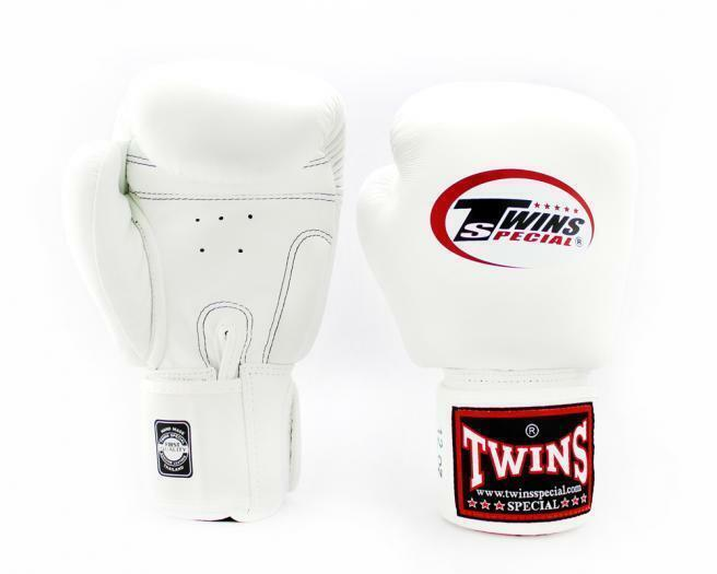 WHITE /'RAJA/' BOXING GLOVES FOR MUAY THAI TRAINING AND FIGHTING