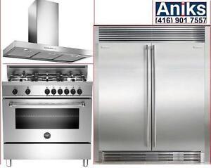 Electrolux ICON 64in built-in side by side Fridge Freezer, Bertazzoni mas365dfmxe 36in Dual Fual Range stainless steelEl