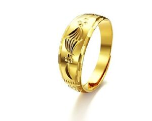 18ct Gold Plated Womens Simple Pattern Adjustable Open Band Classic Wedding Ring