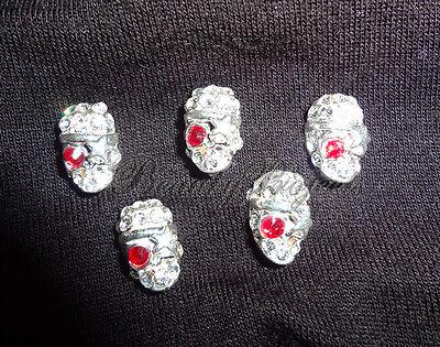 (5pcs) 3D silver skull diamond halloween nail art charms acrylic gel NEW - 3d Halloween Acrylic Nails