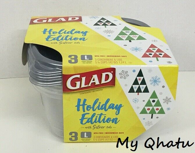 Glad Holiday Edition Containers w/ Silver Lids 3 Large Squar