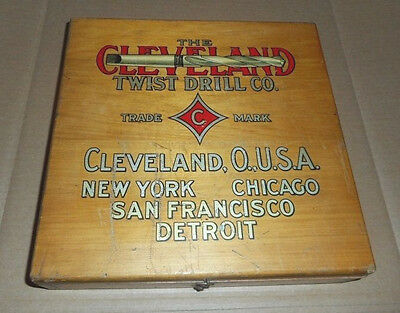Vintage Cleveland Twist Drill Co Wood Storage Box Cleveland Ohio