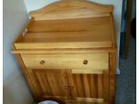 Wooden changing unit table
