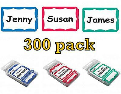 300 Name Badges - Peel Stick - Green Red Blue Border - Tags Labels Sticker