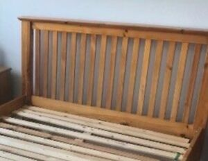 Tyssedal ikea pine king headboard & metal bed frame $150