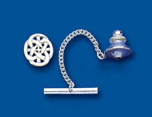 Men's Sterling Silver Oval Celtic Tie Tack - British Made - Hallmarked