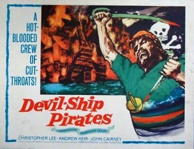 DEVIL-SHIP PIRATES - 1964- original rolled 22x28 Movie Poster - CHRISTOPHER LEE