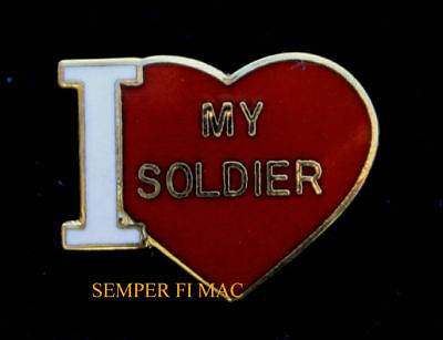 I LOVE MY SOLDIER HAT PIN US ARMY USA FORT BOOT CAMP GRADUATION MOM DAD SISTER