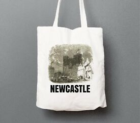 Cotton Tote Bag - Newcastle Keep print, ideal reusable bag for food shopping