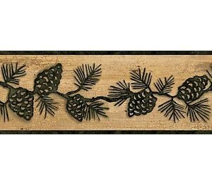 ... about Dark Green Pine Cone on Beige Crackle Wallpaper Border TC48092B