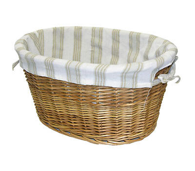 2 Home Decor Oval Willow Baskets Set w Cloth Liner Storage Organizer Clothes Toy