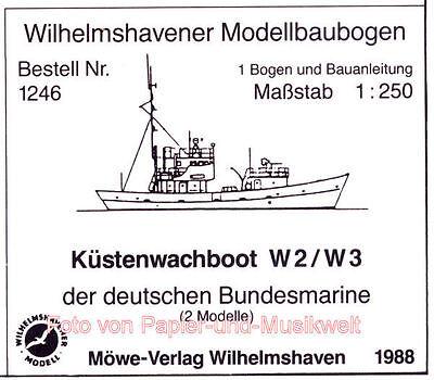 Wilhelmshavener Modellbaubogen 1246 - 2 Küstenwachboote W 2 / W 3 - 1:250