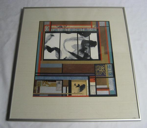 VINTAGE ENID MUNROE CT ARTIST GEOMETRIC ABSTRACT MIXED MEDIA CUT PAPER COLLAGE