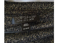 Top shop size 14 black and gold glitter tube skirt