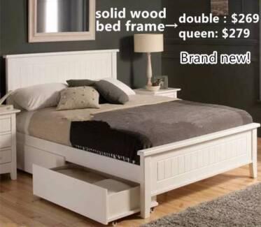 New drawer storage bed frame pine wood black white