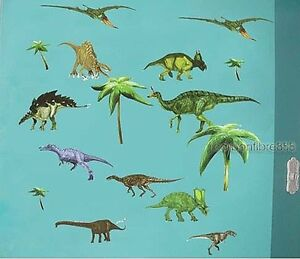 Forest Dinosaurs Jurassic Park Wall Stickers Kids Boys Bedroom Vinyl Art Decals
