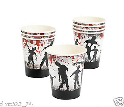 8 HALLOWEEN Party ZOMBIE Bloody Blood Splattered Paper Beverage CUPS 9oz (Halloween Party Cups)