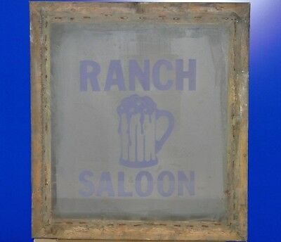 Vintage Ranch Saloon Beer Mug Silk Screen T-shirt Stencil Frame Advertising Art