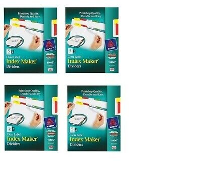 Lot Of 8 Packs New Avery Clear Label Index Maker Dividers 11406 40 Tabs Total