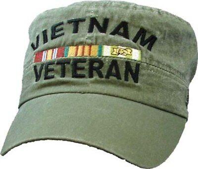 Vietnam Veteran With Ribbon Flat Top ODG Miltary Hat Baseball - Flat Top Hat