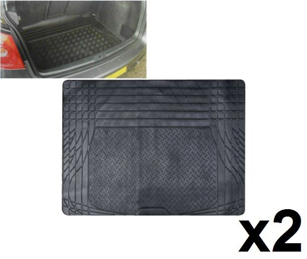 2 x HEAVY DUTY UNIVERSAL FIT RUBBER CAR BOOT TRUNK LINER MAT NON SLIP PROTECTOR
