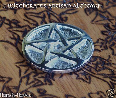 """Silver Pentacle Pentagram Altar Coin 1.25"""" Diameter - Witchcraft Wicca Pagan"""