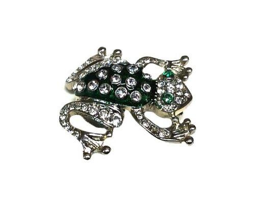 Frog Pin, Brooch, Green Rhinestone, Silver Tone - BRAND NEW!