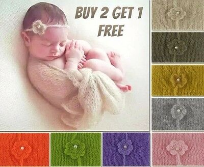 Baby Newborn Soft MOHAIR Wrap Swaddle Cheesecloth Headband Set Photography Prop