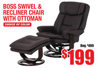 Boss Swivel & Recliner Chair with Ottoman, $199 Tax Included!