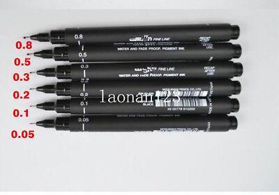 6pcs Fine Line Pen 005 01 02 03 05 08 Needle Point Tubular Drawing Pen