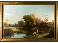 WILLIAM G BOARDMAN - original antique oil painting - listed 19thC American artist (original frame)