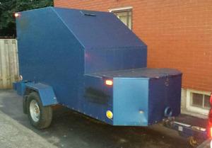 Steel enclosed trailer.