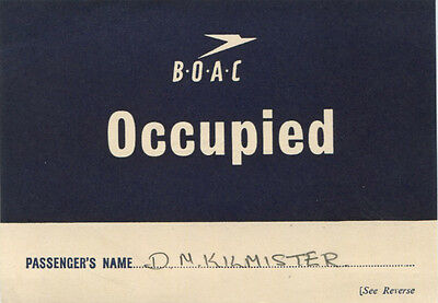 BOAC OCCUPIED CARD SIGN/BOARDING PASS 1948 B.O.A.C.