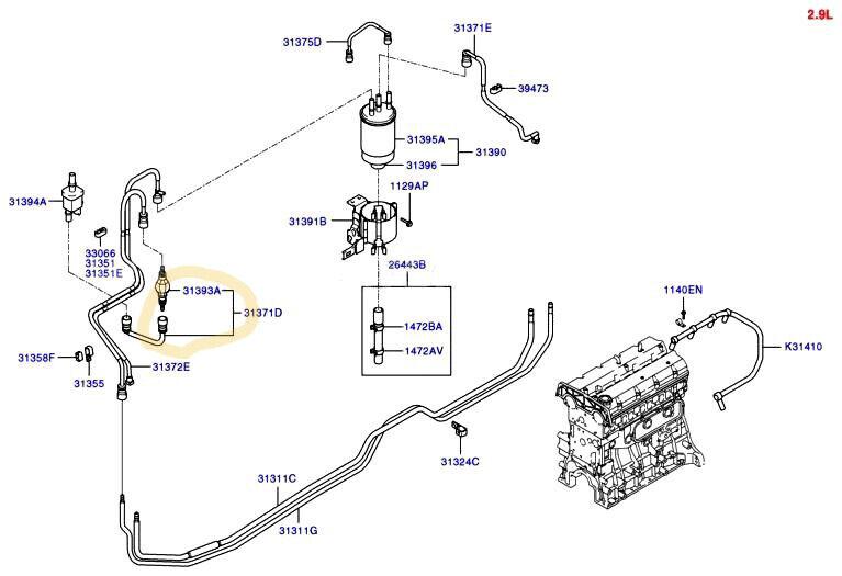 OEM Hyundai TERRACAN 03-06 2.9L Fuel Filter inLet Tube