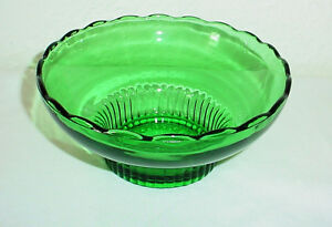 E O Brody Co Green Glass Scalloped Bowl Vintage