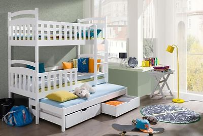 3 SLEEPER BUNK BED WHITE PINE TRIPLE WOODEN SOLID FOAM MATTRESSES AND STORAGE
