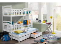 WOODEN SOLID BUNK BED WITH MATTRESSES BRAND NEW
