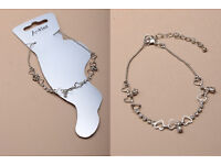 Silver coloured Anklet with hearts and crystals. - JTY003