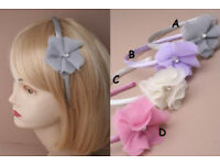 Narrow satin fabric aliceband with Raggy frayed fabric flower with centre crystal. - JTY403