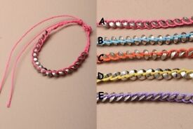 Bright coloured corded friendship bracelet with silver coloured metal disc beads. - JTY131