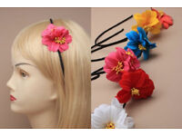 Narrow black aliceband with bright coloured double flower - JTY404