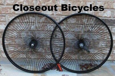 """Pair of 26"""" Cruiser Lowrider Bicycle BLACK Wheels 144 Spokes Front & Rear"""